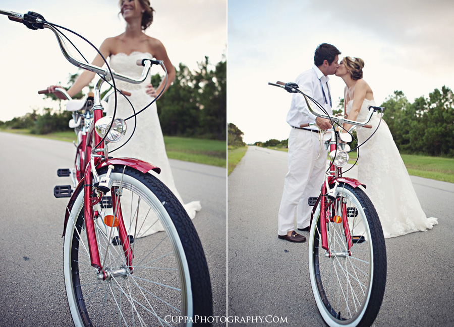 Maine wedding photographer, Morehead City, North Carolina, day after session, wedding portraits, tandem bicycle