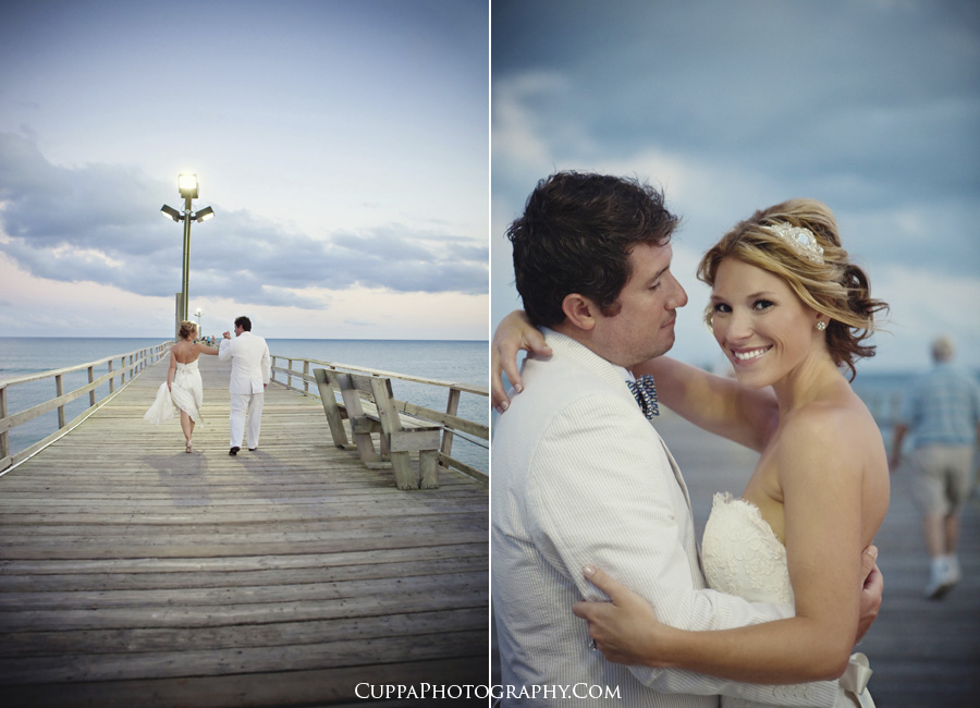 Maine wedding photographer, Morehead City, North Carolina, day after session, wedding portraits, Oceanana pier