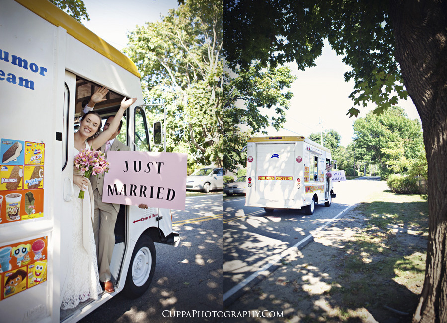 Maine wedding photographer, Biddeford Pool, St. Brendans Chapel, ice cream truck
