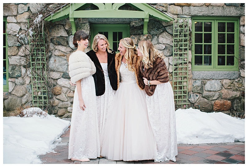 Maine Machusetts Wedding Photographer Willowdale Estate Winter Snow Fur 037